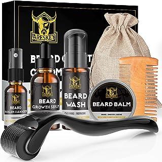 کیت رشد ریش ARESKEY ، کیت تمیز کردن ریش با غلطک درما ، سرم رشد ریش طبیعی ، شستشوی ریش ، بالم ریش ، پاک کننده غلطک ، شانه ریش ، کیسه ذخیره سازی ، ارگانیک