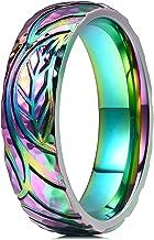 Jewelry Stores Network Mens Black Titanium Rainbow Anodized 6mm Polished Wedding Band Ring