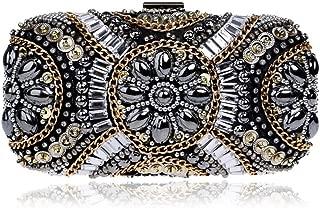 Redland Art Women's Fashion Mini Crystal Clutch Bag Wristlet Catching Purse Evening Handbag for Wedding Party (Color : Black)