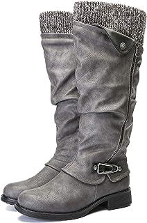 comprar comparacion gracosy Botas de Mujer Otoño Invierno 2020 Tacon Bajo Zapatos Largas Botas Forrado de Piel Antideslizante Cómodo Cremaller...