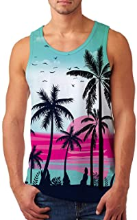 uideazone Mens Tank Top Casual 3D Printed Gym Workout Tanks Cool Sleeveless Graphic T-Shirts