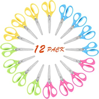 "KUONIIY 5"" Left-Handed Kids Scissors with Soft mfort-Grip Handles,Assorted Colors,12 Pack"