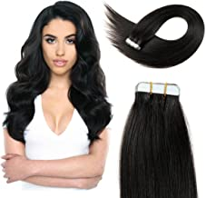 20 inch Straight Tape Hair Extensions Double Side Tape in Remy Human Hair Extensions 20pcs 50g/pack (#1B) Off Black …