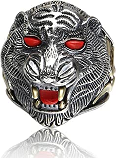 Aooaz Silver Plated Ring for Men Tiger Head Ring Turquoise Punk Ring