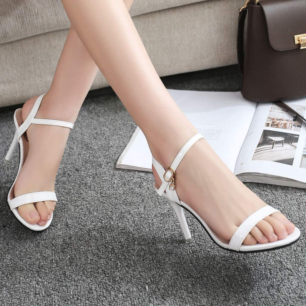Memela Clearance sale Women Stiletto Sandals Ankle Strap Slingback Open Toe Stiletto High Heels Bridal Party Dress Sandals