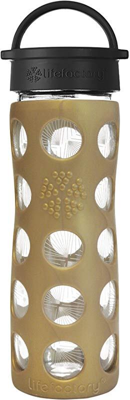 Lifefactory 16 Ounce BPA Free Glass Ion Holiday Water Bottle With Leakproof Classic Cap And Silicone Sleeve Golden Dew