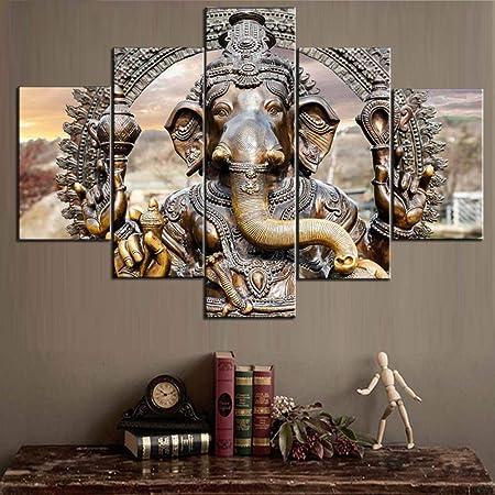 Shiva Ganesha Lord Krishna 5 piece Poster Art Wall Home Decor Canvas Print