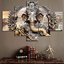 TUMOVO Pictures for Walls 5 Piece Canvas Hindu Elephant God Ganesha Artwork Posters and Prints 5 Panel Paintings,Modern Home Decor for Living Room Frame Gallery-Wrapped Ready to Hang(60''Wx40''H)