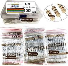 Ltvystore 1000PCS 100 Values 1 ohm -10M ohm 1/2W Metal Carbon Film Resistors Assortment Kit Assorted Set