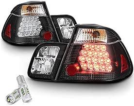 [4-Piece] VIPMOTOZ Black Bezel Premium LED Tail Light Housing Lamp Assembly For 2002-2005 BMW E46 3-Series LCI Sedan - CREE LED Reverse Bulbs Included, Driver & Passenger Side Replacement Pair