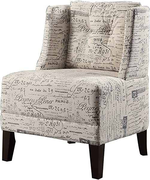 Poundex Bobkona Prissy Accent Chair In Abstract Script White