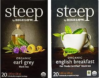 Steep By Bigelow Organic Black Tea 2 Flavor Variety Bundle, (1) each: Earl Grey and English Breakfast (20 Count)