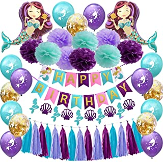 Mermaid Birthday Party Decorations Supplies - Happy Birthday Mermaid Banner, Giant Mermaid Balloon,Pom Pom Paper Flowers, ...