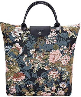 Signare Tapestry Navy & Pink Fold-able Reusable Grocery Shopping Bag with Peony Flower in Black Background (FDAW-PEO)