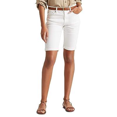 LAUREN Ralph Lauren Petite Stretch Cotton Blend Shorts (White Wash) Women