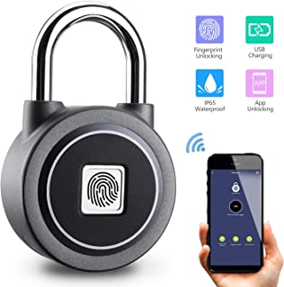Fingerprint Padlock with APP, Bluetooth Connection Metal Waterproof IP65 Keyless Lock, Suitable for House Door, Suitcase, Backpack, Gym, Bike, Office (Grey)