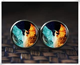 no see long time Phoenix Cufflinks, Phoenix fire and Water Cufflinks, red and Blue Cufflinks, Phoenix Jewelry, Spiritual Cufflinks