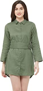 109 F Women's Cotton Olive Solid Dress