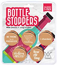 Hawwwy Funny Wine Stoppers + to/from Gift Packaging, 5 Hilarious Sayings, Fun Gifts, Cute Gadgets Reusable Bottle Caps Unique Themed Gift Idea Set Accessories Beverage Decorative Topper