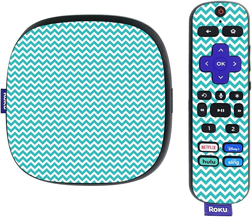 MightySkins Skin Compatible with Roku Ultra HDR 4K Streaming Media Player (2020) - Turquoise Chevron | Protective, Durable, and Unique Vinyl Decal wrap Cover | Easy to Apply | Made in The USA