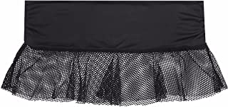 Women's Black Fishnet Mesh See-Through Pleated Club Dance Mini Skirt