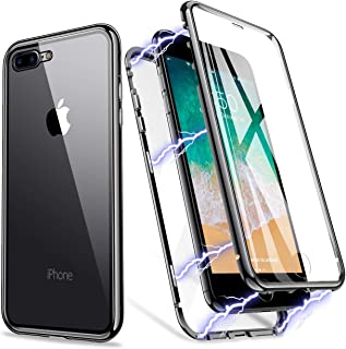 ZHIKE iPhone 7 Plus Case, iPhone 8 Plus Case, Magnetic Metal Frame Front and Back Tempered Glass Full Screen Coverage One-Piece Design Flip Cover [Support Wireless Charging] [Clear Black]