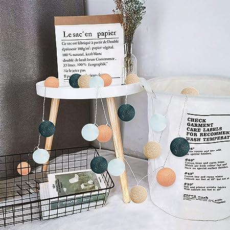 Guirlande Lumineuse d'intérieur avec 20 boules en coton fonctionnant sur piles, 3m Lampes d'ambiance LED Globe Light De Coton Guirlande Lumineuse FêTe De NoëL LumièRes