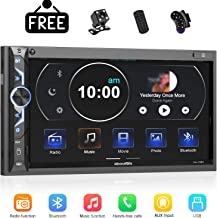 7 inch Double Din Digital Media Car Stereo Receiver,aboutBit Bluetooth 5.0 Touch Screen Car Radio MP5 Player Support Rear/Front-View Camera, AM/FM/MP3/USB/Subwoofer,Aux Input,Mirror Link