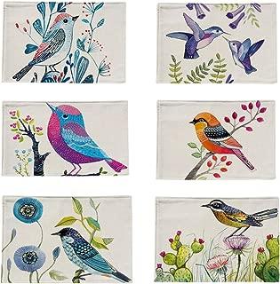 Bettli 6 Pieces Cotton Linen Placemats Bird Pattern Dining Table Mats. (Bird Cotton)