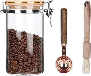 KKC キャニスター コーヒー豆 保存容器 密閉 ガラス 保存瓶 珈琲豆 保存容器 気密 保存缶 1200ML(スプーン と お掃除ブラシ付き)