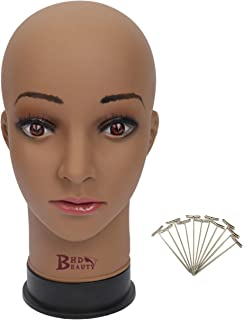 BHD BEAUTY Bald Mannequin Head Brown Female Professional Cosmetology for Wig Making, Display wigs, eyeglasses, hairs with T pins 22''