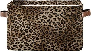 funnyy Panier de rangement en tissu imprimé léopard - Grande boîte de rangement avec poignées - Pliable - Pour chambre d'e...