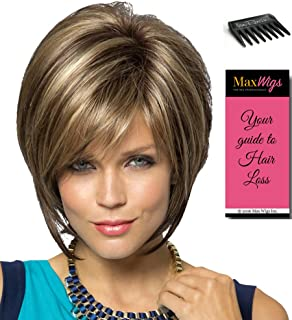 Reese Monofilament Part Color Plumberry Jam Ombre - Noriko Wigs Women's Tousled Bob Synthetic Short Choppy Layers Side Fringe Bundle with Wig Comb, MaxWigs Hairloss Booklet