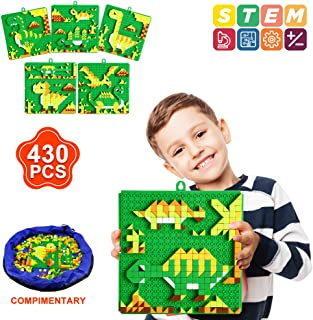 INSOON 6 in 1 STEM Toys Building Blocks Set Puzzle Block Toys for 4 5 6 7 8 Year Old Boys Girls Creative Button Games Dinosaur Pattern Blocks for Toddler Logicality Practice