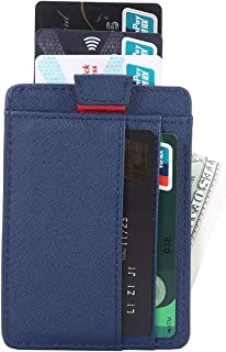 Krone Kalpasmos Mens Card Case Holder RFID Blocking Slim Minimalist Business Thin Credit Card Leather Wallets with 3 Card Slots(Max.7 Cards)Money Clip/Coins Purse/Change Pouch/Key Wallet Pocket(Blue)