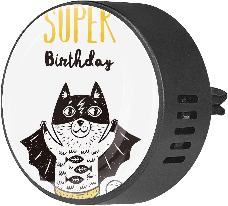 Josid Funny Cats I Have A Super Birthday - Difusor de ventilación para coche, 2 unidades, difusor de aceites esenciales de aromaterapia para coche, oficina, baño, cocina