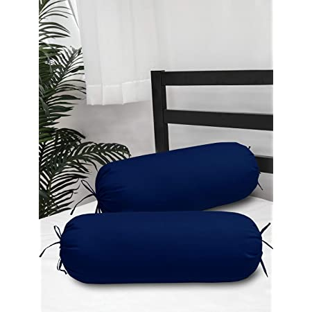 Clasiko Cotton Bolster Covers; Set of 2; 300 TC; Navy Blue