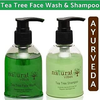 Natural Vibes Ayurvedic Tea Tree Face Wash and Shampoo Everyday Treatment (Tea Tree Shampoo, 150ml and Tea Tree Face Wash, 150ml)