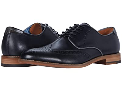 Johnston & Murphy Milliken Wing Tip (Black Full Grain) Men