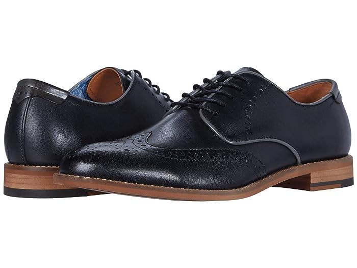 Johnston and Murphy  Milliken Wing Tip (Black Full Grain) Mens Shoes