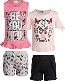 Real Love Girl's 4-Piece French Terry Short Sets