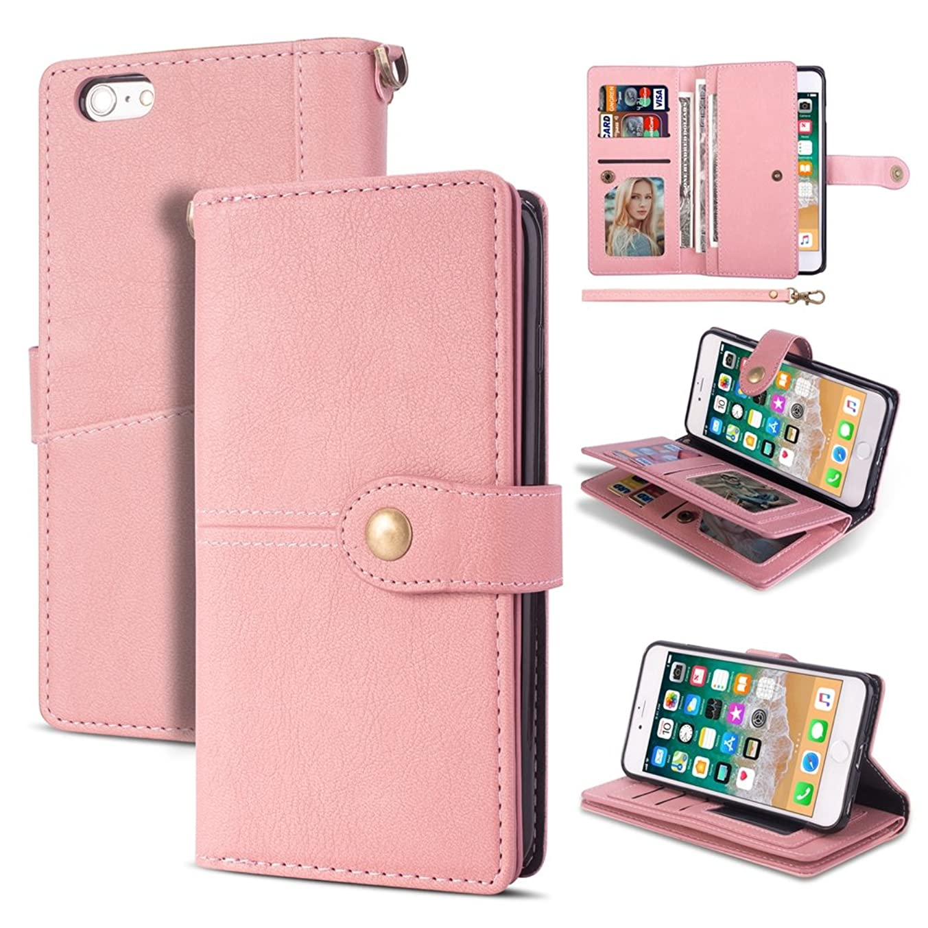 iPhone 6 Wallet Case,Kudex Folio Flip PU Leather Shock Absorption Defender Full Protection Impact Resistant Magnetic Closure Card Slot Stand with Wrist Strap Case Cover for iPhone 6/6S (Pink)