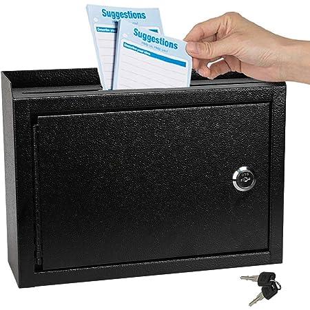 "KYODOLED Suggestion Box with Lock,Locking Mailbox, Key Drop Box, Wall Mounted Mail Box,Safe Lock Box,Ballot Box,Donation Box 9.8"" W x 3"" D x 7"" H,Black"