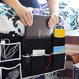 Teniux Bedside Caddy Hanging Bedside Pockets Holds laptops,Tablets, Smartphones,Magazines,Glasses and More, Perfect for Home Bedroom and College Dorm Rooms