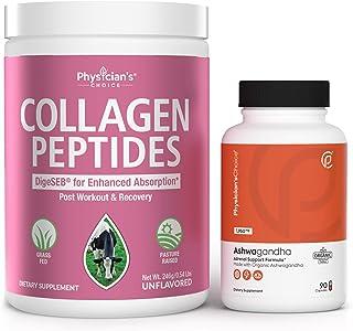 Collagen Peptides Powder - Enhanced Absorption + Ashwagandha 1950mg Organic Ashwagandha