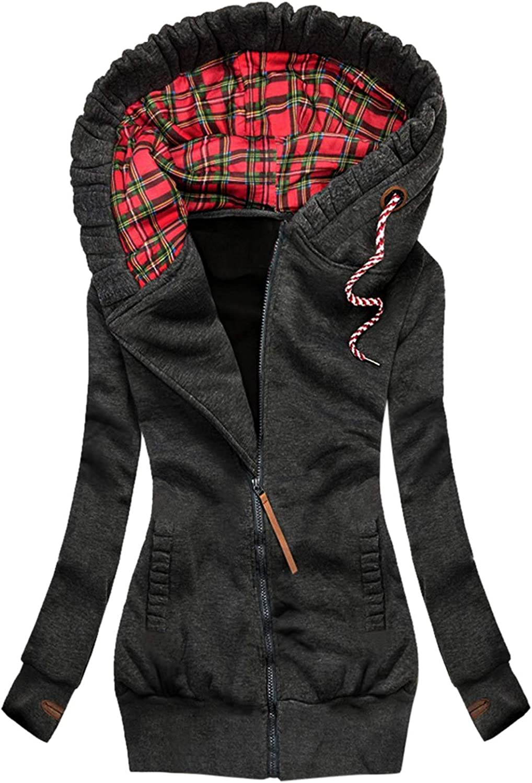 Women Rain Jacket Waterproof With Hood Plaid Print Overcoat Zipper Pocket Sweatshirt Long Sleeve Coat Outwear Raincoats