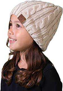 Funky Junque Girls Cable Knit Beanie – Warm Unisex Hat – Kids Winter Cap
