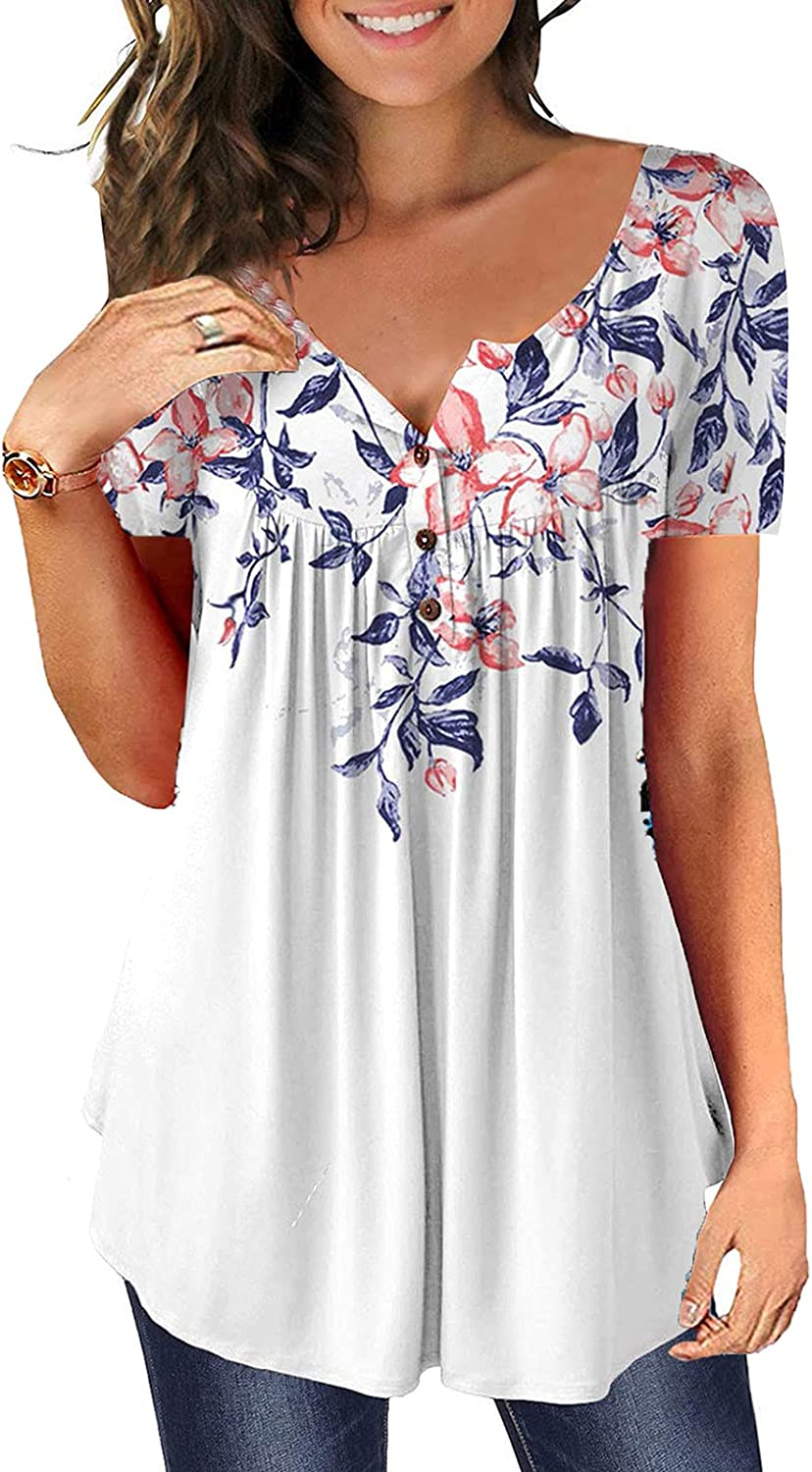 Short Sleeve Blouses for Women Dressy Flowy Tops Button Down Tunic Shirts Fashion Casual Loose Scoop Neck Ruched Tees