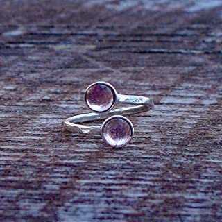 Recycled Antique Pink Depression Glass Hammered Sterling Silver Bypass Ring
