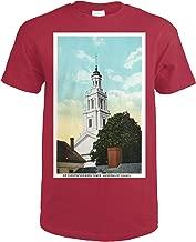 Provincetown, MA - Universalist Church, Sir Christopher Wren Tower View 19254 (Cardinal Red T-Shirt X-Large)